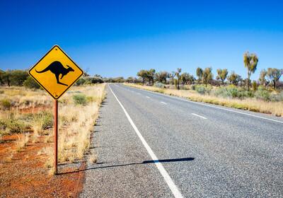 znak za klokana na cesti, putovanje australija, daleka putovanja, garantirani polasci