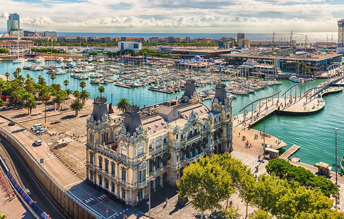 luka port vell u Barceloni, Španjolska, europska putovanja zrakoplovom