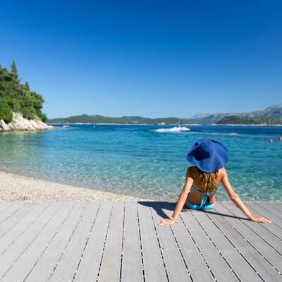 Plaža hotele Lafodia na otoku Lopudu.