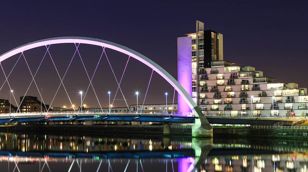 Moderan most Clyde Arc u Glasgowu, putovanje u Škotsku, Mondo travel
