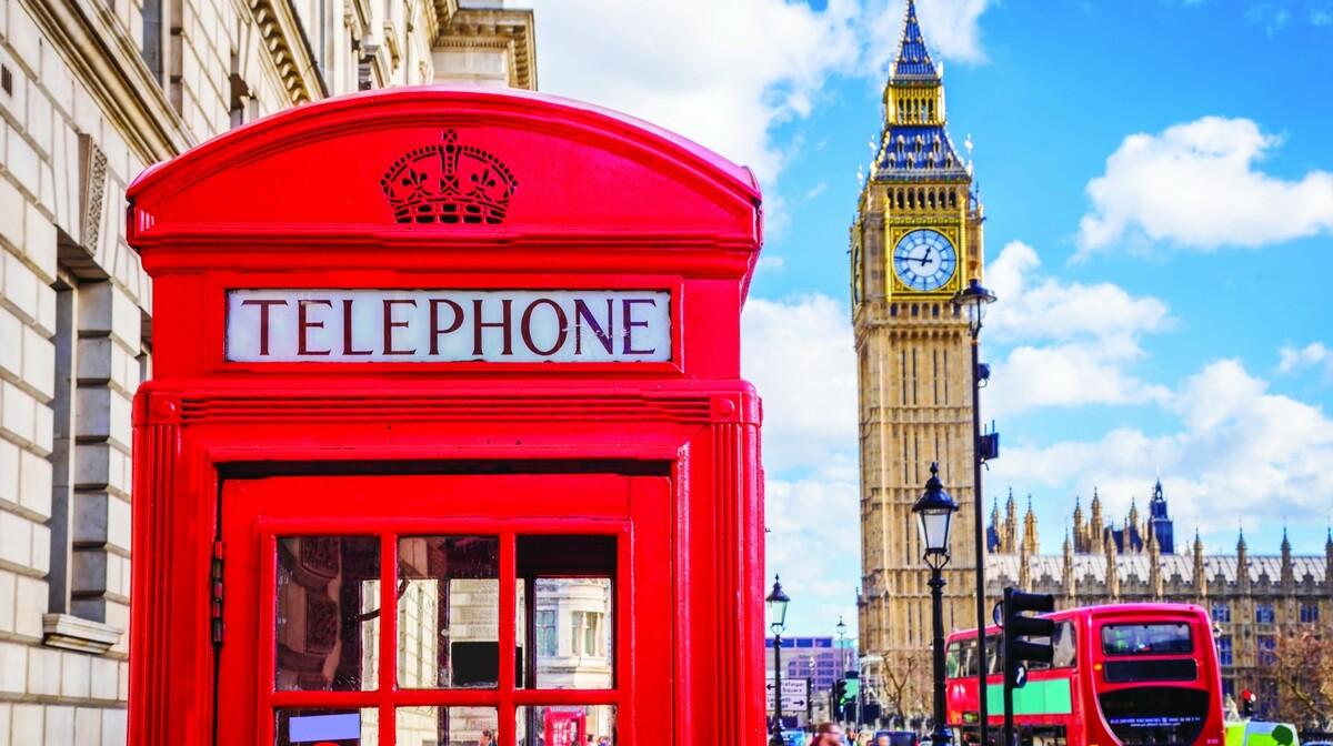 London putovanje, crvena telefonska govornica i Big Ben