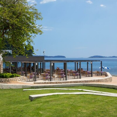 Dubrovnik, Mlini, Hotel Mlini, vanjski dio restorana
