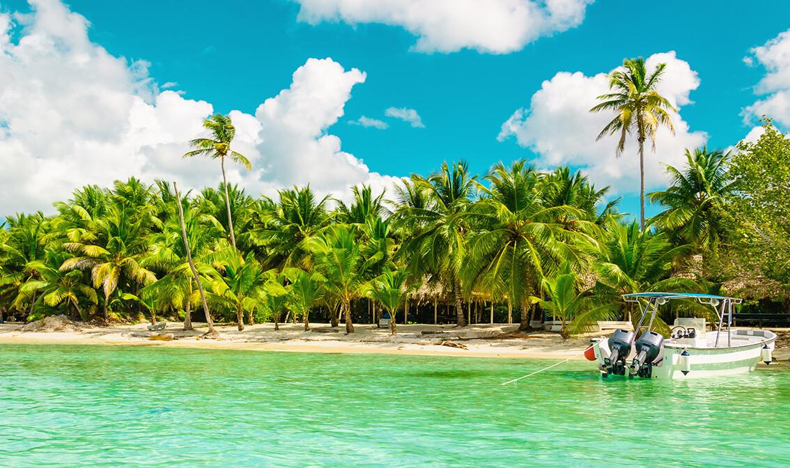 Pješčana plaža sa palmama,  odmor Dominikanska republika, karibi, odmor iz snova, daleka putovanja