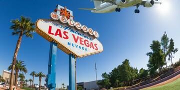 Amerika, Nevada, Las Vegas, panoramski pogled na znak dobrodošlice u Las Vegas, grupni polasci